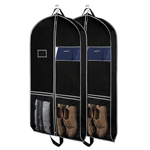 Zilink Garment Bag Suit Bags for Travel and Storage 43 inches Gusseted Suit Cover Protector for with 2 Large Mesh Pockets and 2 Carry Handles for Suit Coat, Dress, Set of 2