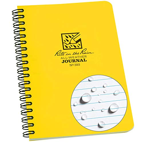 """Rite In The Rain Weatherproof Side-Spiral Notebook, 4 5/8"""" x 7"""", Yellow Cover, Journal Pattern (No. 393)"""