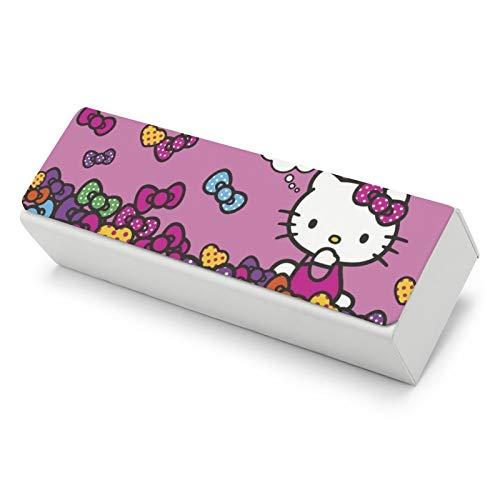 Cartoon Hello Kitty - Funda de piel para gafas de hombre y mujer, pequeña y fácil de llevar con una gran capacidad para almacenar todo tipo de gafas