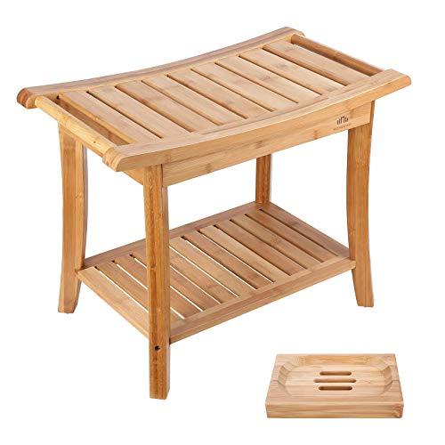 HOMECHO Bamboo Shower Bench Stool Seat with Shelves Waterproof Wooden Bath Spa Bathroom Storage Organizer 23.6