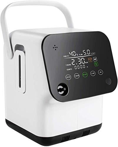 Tragbarer Sauerstoffkonzentrator-Generator, intelligenter Sprach-Voll-Touchscreen 1-7 l/min Einstellbare Luftbefeuchter für O2-Maschinen mit Anionenfunktion für den Heimgebrauch