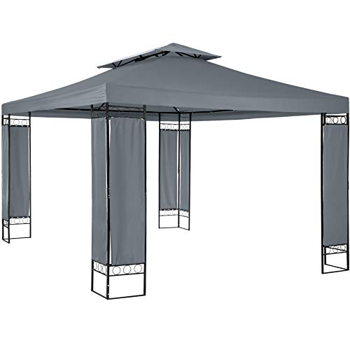 TecTake 800724 Garten Pavillon 390 x 290 x 265 cm, stoffbezogene Eckelemente, UV-beständig und wasserabweisend (Anthrazit)