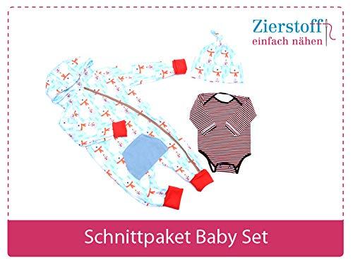 3 Papierschnittmuster zum Nähen von Babykleidung - Das Baby Set beinhaltet einen Overall, Body und eine Mütze für Babys und Kleinkinder von Gr. 50-74