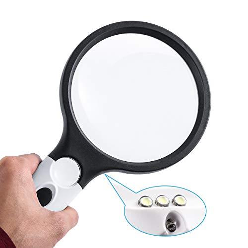 Nosii 4-LED-Handlupe mit Licht, 4X / 30X-Objektiv, tragbare beleuchtete Lupe, zum Lesen, Makuladegeneration, Reparatur, Hobby und Handwerk, 4,2 Zoll (Weiß & Schwarz)