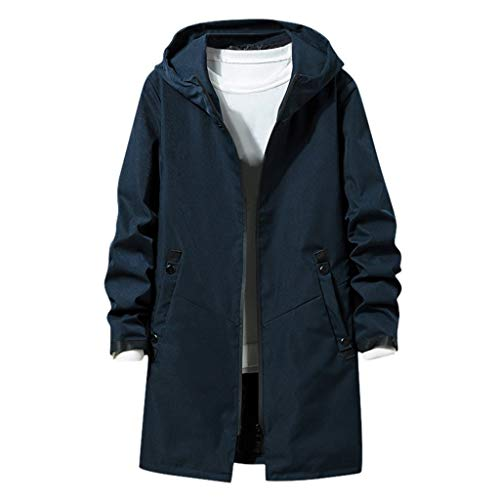 ZHANSANFM Jacke Herren Übergangsjacke mit Kapuze Unifarben Cargo Lang Kapuzenjacke Winddicht Warm Trenchcoat Mode Beiläufiges Mantel Outwear Vintage Windjacke Regular Fit (XL, Dunkelblau)