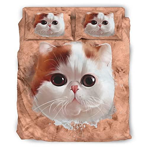 Set di biancheria da letto con stampa a forma di gatto, 4 pezzi con chiusura lampo, 1 copripiumino e 2 federe bianche, 228 x 264 cm