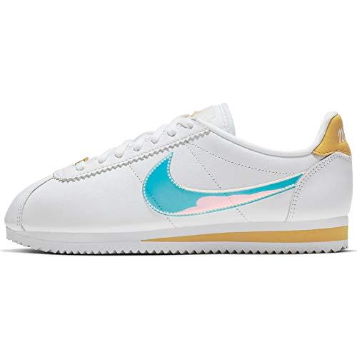 Nike WMNS Classic Cortez Womens Ci9914-100 Size 7.5, White/Clear-topaz Gold