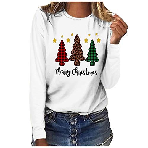 Xmiral Bluse Langärmliges T-Shirt Damen Drucken Rundhals Slim Fit Sweatshirt Weihnachten Tops Grundierung Pullover(a Weiß,3XL)