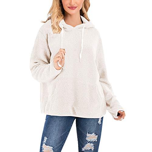 JiaMeng Damen Einfarbig Kapuzenpullover Mode Bequem Casual Hooded Plüsch Pulli Hoodie Sweatshirt mit Kordel und Taschen Damen Langarm Pullover