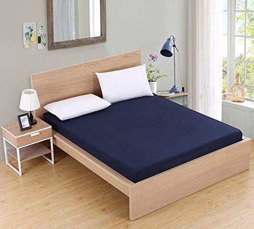 Solid Color Fitted Sheet Mattress Cover Bed Linen With Elastic Band Mattress Protector Pad Polyester King Size Bedding Set 200x100cm Navy Blue