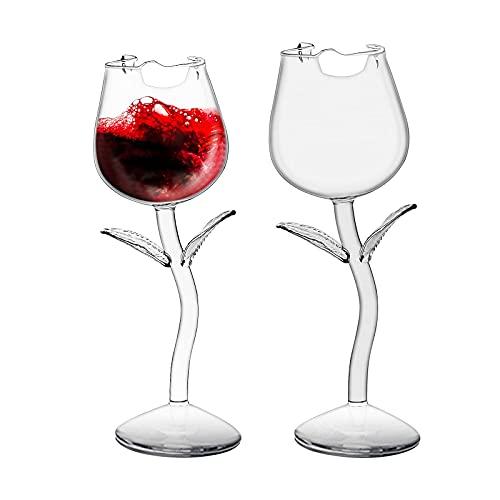 2 Piezas Creativas Copas De Vino Blanco Con Forma De Rosa Copa De Vino Tinto Copa De Vino Blanco De 180 Ml Para El Hogar, Restaurantes Y Fiestas