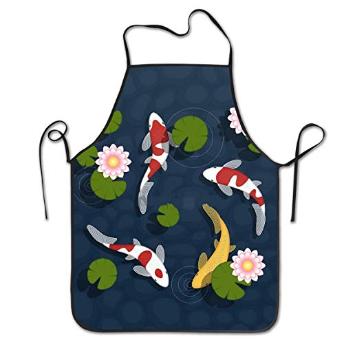 DearLord Adjustable Bib Apron Seamed Apron,Japanese Koi Fish Pond Cooking Kitchen Aprons for Women Men Chef,BBQ 28.3 x 20.5 Inches