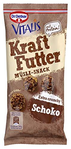 Dr. Oetker Vitalis Kraftfutter Schoko, Pausen Snack und Fingerfood mit Protein und süßen Müsli Crunches mit zweierlei Schoko-Stückchen, 7er Portionspack (7 x 45g)