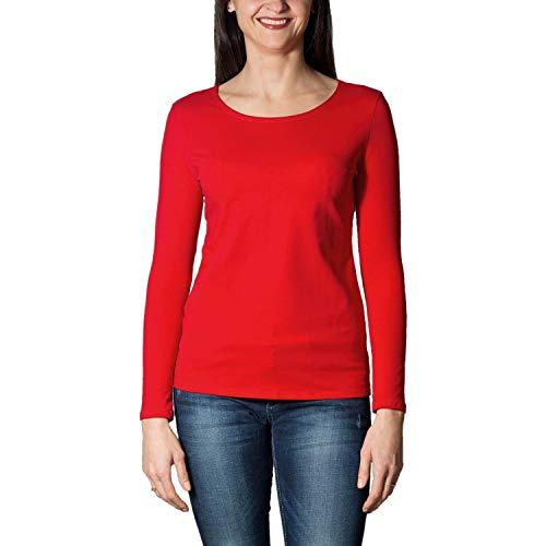 Alkato Damen Langarm Shirt mit O-Ausschnitt, Farbe: Rot, Größe: S