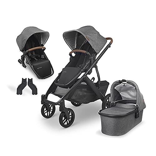 UPPAbaby Vista V2 Stroller- Greyson (Charcoal Melange/Carbon/Saddle Leather) + Upper Adapters + RumbleSeat V2- Greyson (Charcoal Melange/Carbon/Saddle Leather)