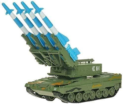 Kikioo Coche de la Segunda Guerra Mundial la defensa aérea de simulación de oruga regalo del metal del lanzador tire hacia atrás de coches de juguete a prueba de balas de misiles Tanque Chariot Modelo