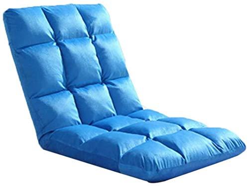 Sillón Silla plegable de muebles, silla plegable del piso acolchado con el respaldo ajustable 6posicion sillón grueso Cojín de asiento Lazy Lounge Sofá Silla de meditación de juego (Color: Azul)