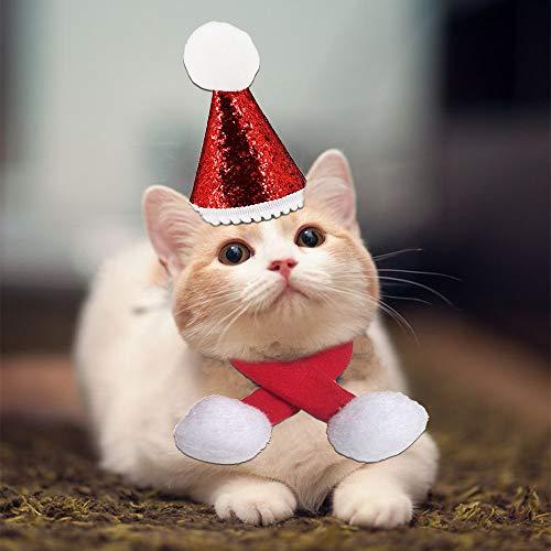 kungfu Mall 2 Collares de Navidad para Mascotas, Ajustables, para Gatos, Gorro de Papá Noel, cálidos, Suaves, Bonitos, para Perros, Gatos, Accesorio de Moda