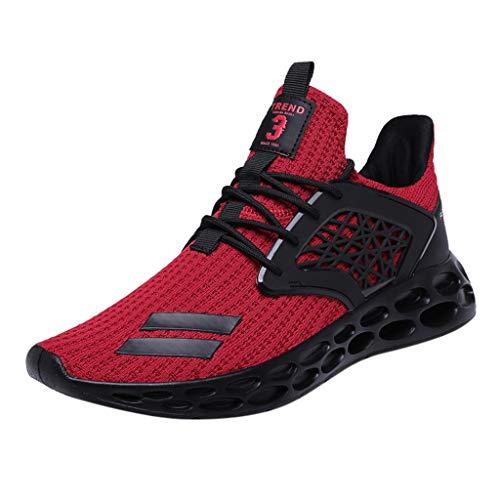 AIni Herren Schuhe Mode Beiläufiges 2019 Neuer Heißer Atmungsaktiver Schnürschuh Sport Athletic Walking Running Shoes Sneakers Freizeitschuhe Partyschuhe (46,Rot)