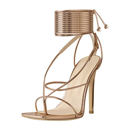 LISHAN Women's Gladiator Ankle Buckle Wrap Heel Sandals Square Toe Crisscross Lace Up Stiletto Heels Classic Open Toe Summer Sexy Large Size Shoes Rose Gold Size 12