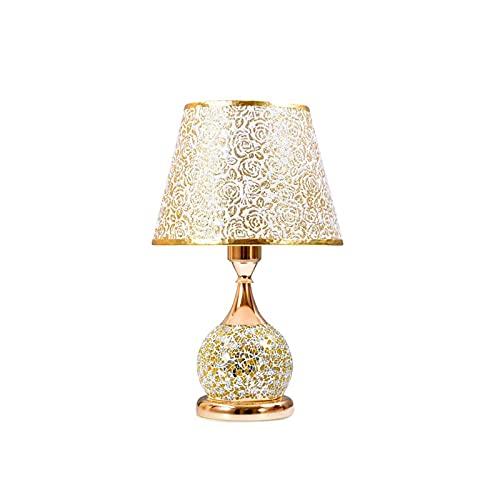 Lámparas de Mesa Lampara mesita noche Estilo europeo de cristal con pequeñas lámparas de escritorio con base de impresión de rosa blanca y base de metal para dormitorio Mesilla de Noche Lámpara de Mes