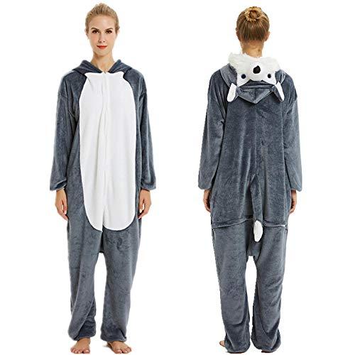 Pijama Entero Mujer con Pijamas De Animales Onesie Todo En Uno Gris Oscuro Pequeño Perro Lobo