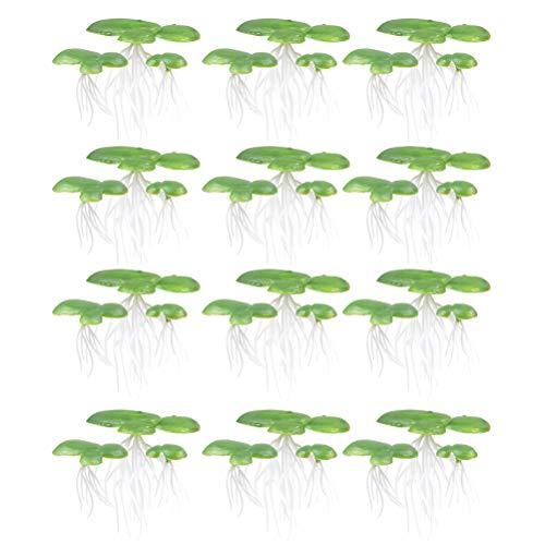 STOBOK 2 Pacotes/ 36 PCS Simulado Lentilha- d' água Decoração de planta de plástico Enraizado (verde) suprimentos favoritos para animais de estimação