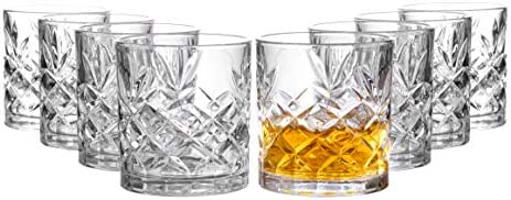 Royalty Art Kinsley Clovelly Lowball Whiskey Glasses 8 Pc Set 10 6 ounce Short Drinking Glassware product image