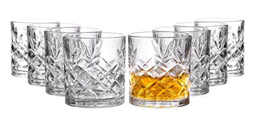 Royalty Art Kinsley Lowball Whiskey Glasses, 8 Pc. Set, 10.6 ounce Short Drinking Glassware for...