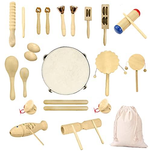 Ulifeme Holz Musikinstrumente Set, 27 Stück Instrumente für Kinder, Kleinkinder und Baby, Reines Holz Percussion Musikinstrumente Spielzeug, Musik Rhythmus Instruments Set Verpackt in Baumwolltasche