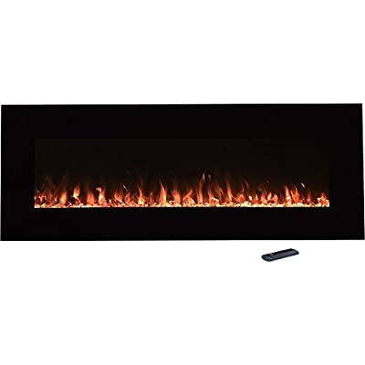 """Northwest Electric Fireplace Wall Mounted Color Changing LED Fire and Ice Flames, NO Heat, Multiple Decorative Options and Remote Control, 54"""", Black"""