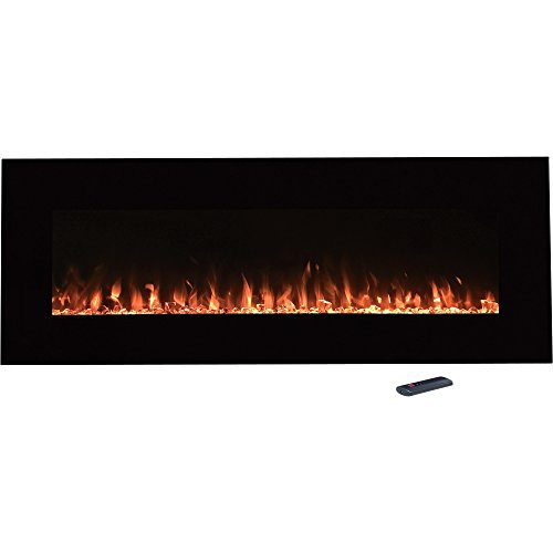 "Northwest Electric Fireplace Wall Mounted Color Changing LED Fire and Ice Flames, NO Heat, Multiple Decorative Options and Remote Control, 54"", Black"