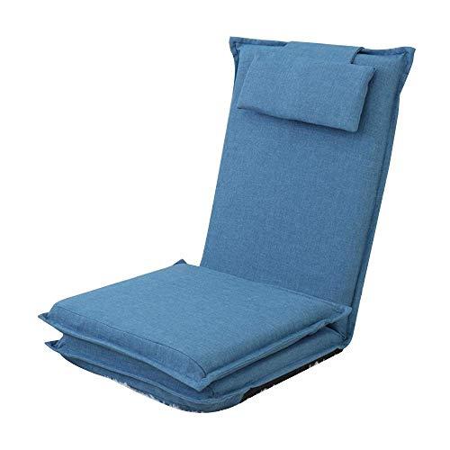 Bodenstuhl Leisure Bed Chair Abnehmbarer und waschbarer Lazy Sofa Lounge Chair mit Rückenlehne Ergonomischer Bodenstuhl für Erkerfenster Schlafzimmer Dunkelblau