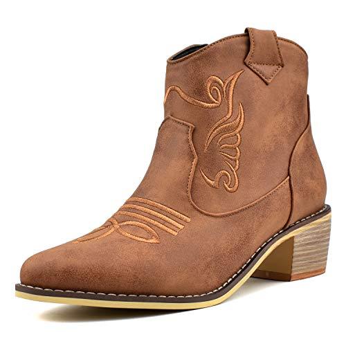 100FIXEO Women Chunky Mid Heel Zip Up Western Cowboy Ankle Boots Comfort Booties (10.5 (B) M US,Brown)