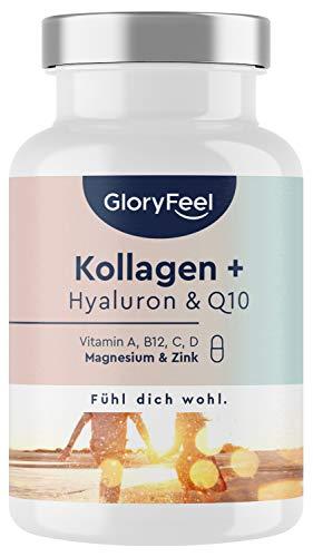 Kollagen Kapseln + Hyaluronsäure & Q10 - Angereichert mit Zink, Magnesium, Vitamin B12, D3, A & C - 60 Kapseln - Laborgeprüft, hochdosiert ohne Zusätze in Deutschland hergestellt