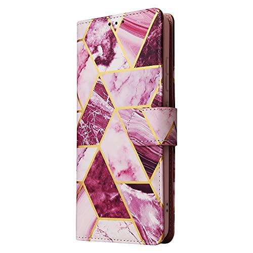 NEINEI Flip Cover in Pelle per Samsung Galaxy M32 5G,Custodia Portafoglio Premium con [Porta Carte][Supporto][Modello di Marmo],PU/TPU Wallet Libro Magnetica Case-Viola