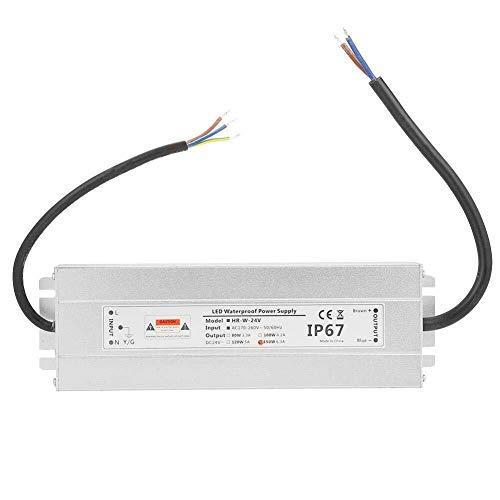 Onior Fuente de alimentación LED, 24V 150W 6.25A Cinta de luz LED de Fuente de alimentación IP67 Impermeable del LED del Transformador del Conductor Herramientas