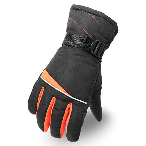 Yjdr Guanti da sci invernali da ciclismo e moto Cold Plus Guanti in velluto spessi e caldi guanti invernali da uomo Arancione