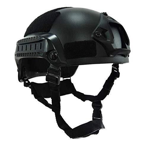 WISEONUS Airsoft Casco táctico Paintball Shooting Caza Equipo protector MICH2001 Tipo Casco con riel lateral y montaje NVG (negro)