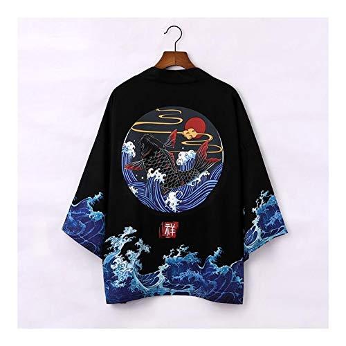 ZTXCM Cultura Japonesa Kimono japonés Cardigan Verano de los Hombres de Nueva Haori Samurai Kimonos Karate Streetwear Camisa for Hombre del Kimono Japones Haori Yukata (Color : Style G, Size : M)