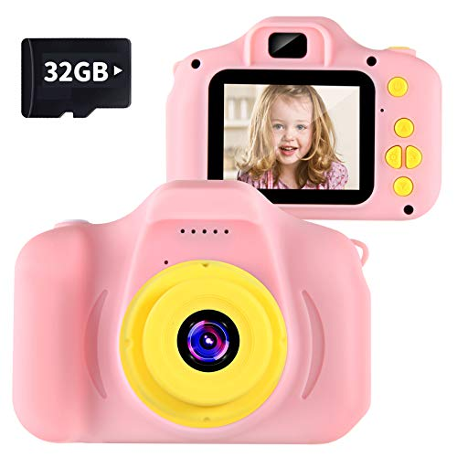 VATENIC Kids Camera Kids Birthday Gift for Girls Toys 1080P 2 Inch Toddler Portable Toy for 3 4 5 6 7 8 9 10 Year Old Video Children Digital Cameras for 3-10 Year Old Girl with 32GB SD Card (Pink)