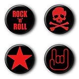 4 Rock'n'Roll Buttons Buttonset Punk Ansteckbuttons #4 (2,5cm) -