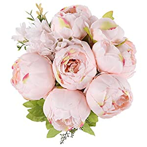 TYMG Home Vintage Artificial Peony Silk Flowers Bouquet Home Wedding Decoration (Spring Pure Pink)