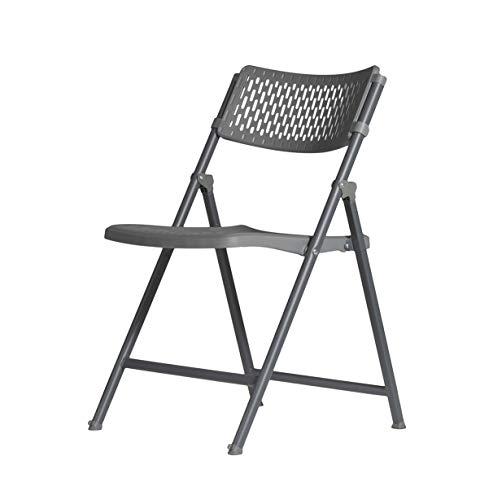 ZOWN Sistema de Plegado con pistón Pack 4 sillas Plegables Aran, Polipropileno, Gris Oscuro Azulado, L51 x W52.8 x H81.2 cm