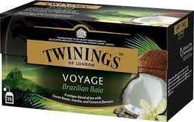 Twinings Voyage - Brazilian Baia - Schwarzer Tee mit Vanille-, Kokos- und Kakaosamen - Süßer und samtiger Geschmack - Erinnert an die paradiesische brasilianische Atmosphäre (25 Beutel)