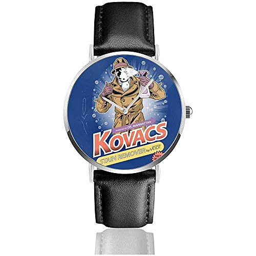 Watchman Rorschach Kovacs Smacchiatori Orologi Orologio al quarzo in pelle con cinturino in pelle nera per regalo collezione