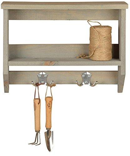 Esschert Design Wandregal mit Haken, 39 x 11 x 30 cm, aus Holz, Größe M, mit 2 Haken und Stellplätzen