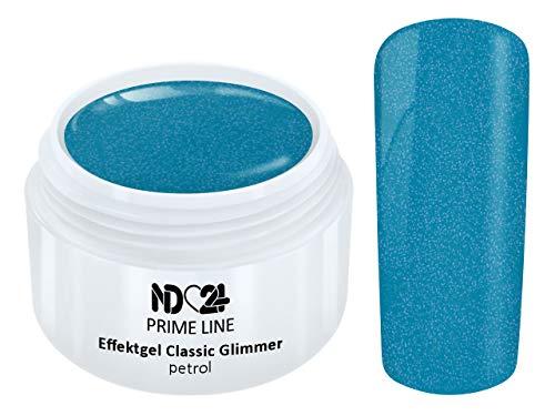 5ML - PRIME LINE - UV LED Effekt Gel GLIMMER PETROL Farb Color French Glitzer Glitter Art Grün Blau...