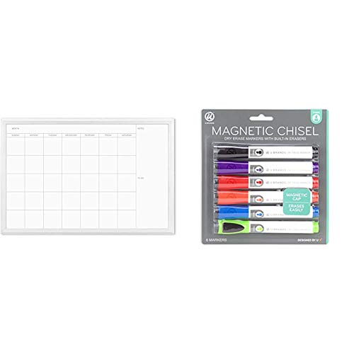 U Brands Magnetic Dry Erase Calendar Board, 20 x 30 Inches, White Wood Frame (2075U00-01) & Low Odor Magnetic Dry Erase Markers with Erasers, Chisel Tip, 6-Count (Assorted Colors)