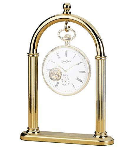 Uhrenhuette C336026 - Espositore per orologio da tasca con finitura in ottone lucido, per orologi con diametro fino a 60 mm, senza orologio